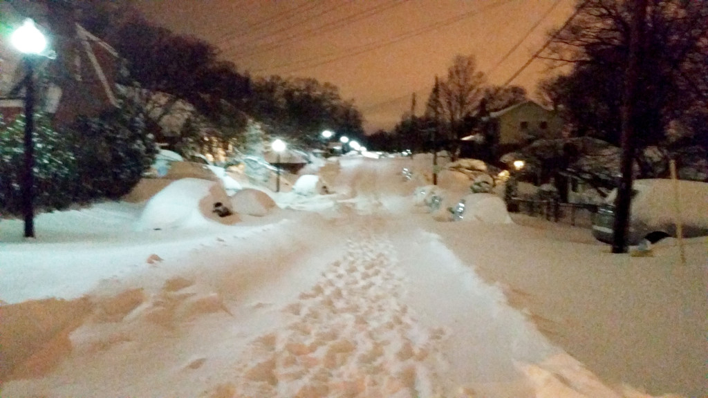 Back on our street at the end of the night - can't even see the Beast's tracks!