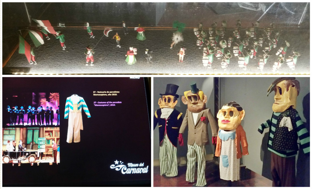 Top: Mini replica of carnival. Bottom Left: touch screens tell the story of the costumes/objects on display. Bottom Right: Cabezones (big heads).