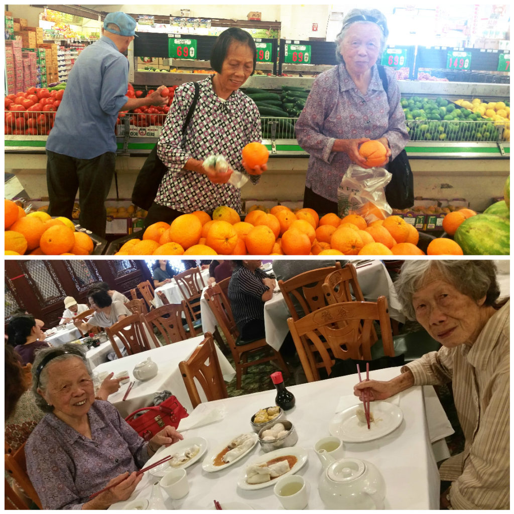 Adventures to the grocery store and Chinese restaurants with the great aunts.