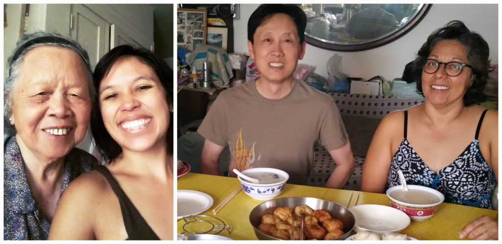 Time with the parents =D and grandma's homemade rice soup, red bean fritters, and steamed taro cake!