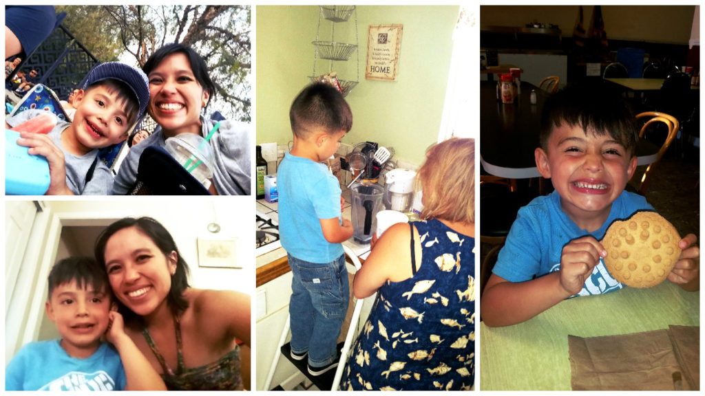 """Max! Posing with me, making mango lassi with Tia Zari, and eating his cookie (""""the bumpy kind""""). Isn't he cute?"""