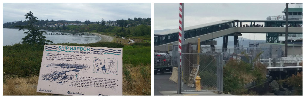 Left: The view while waiting for the ferry at Anacortes. Right: You can see the line for foot passengers.