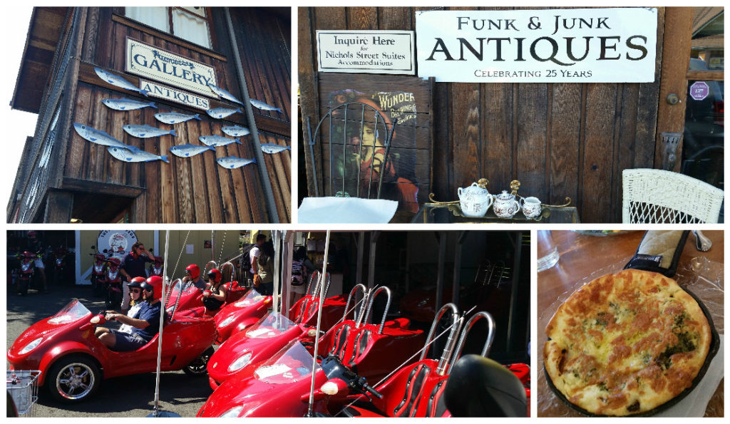 Top: Local antiques shop. Bottom Left: Mopeds and funky rentals. Bottom Right: Savory, deep dish breakfast pancake with bacon.