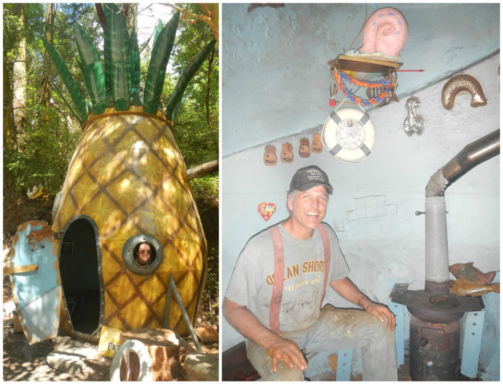 "I can only imagine this pineapple structure was Spongebob Squarepants inspired. The artist (on the right) said he works on a new sculpture every year, putting in time everyday after work. His goal? ""If I can make you smile, I've done my job"""