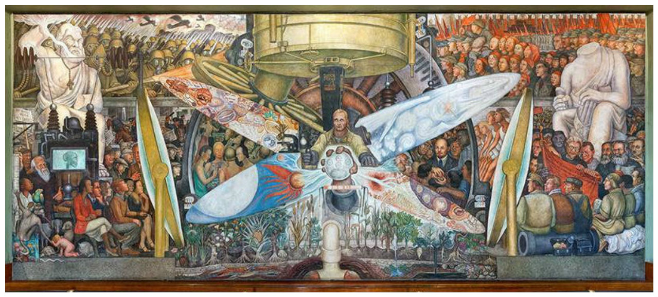 "Diego recreated his mural in Mexico's Palacio de Bellas Artes with the title ""Man, Controller of the Universe."" This version has Lenin in a suite/tie, unlike the original."