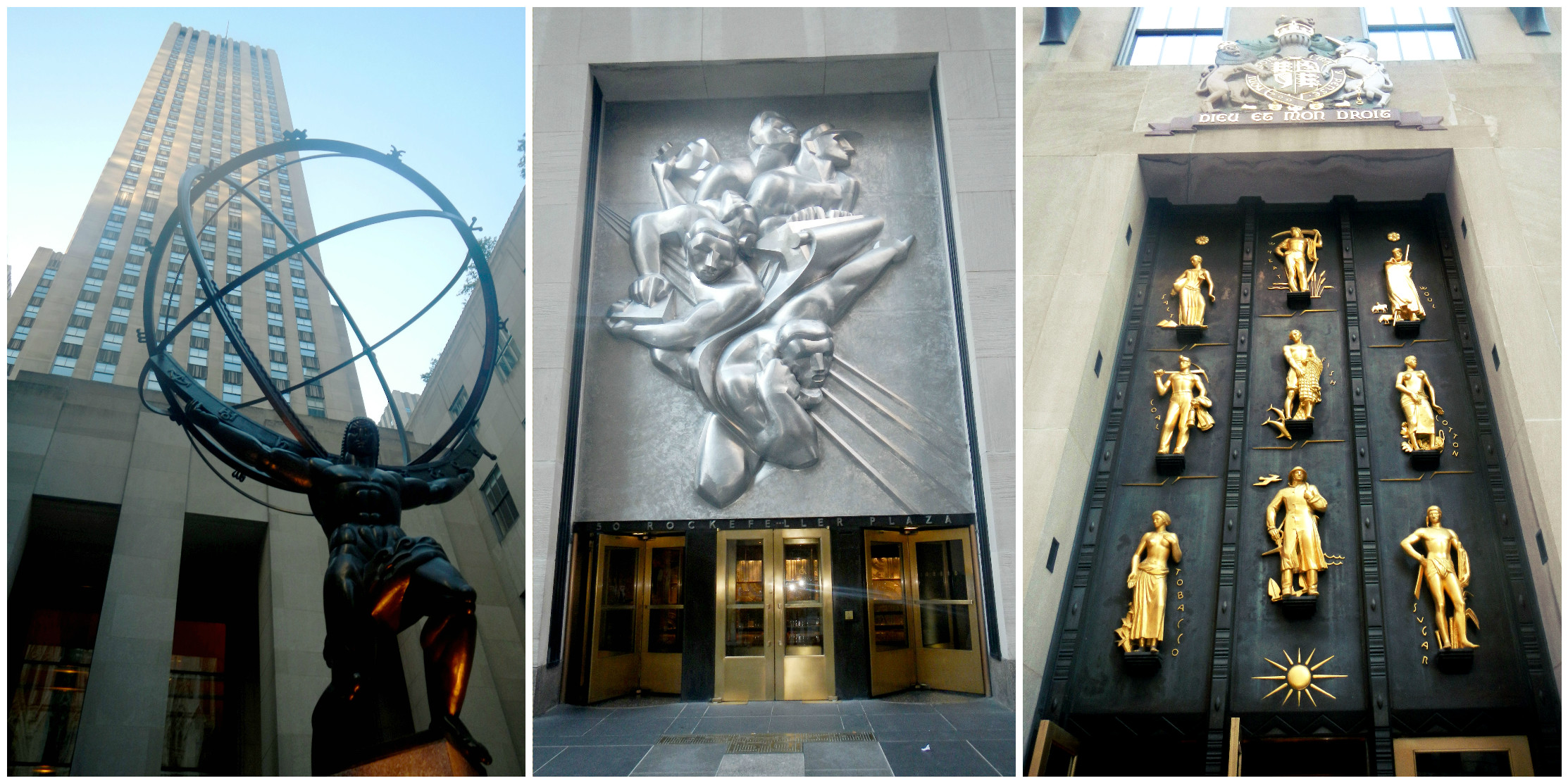 "Left: Atlas, representing stability. Center: ""News"" - 10 Tons of steel above the AP entrance. Right: British Empire Building, Junior was all about promoting international trade."
