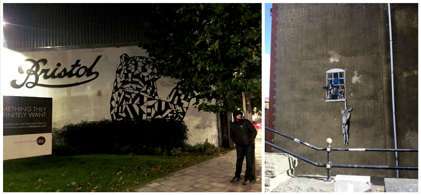 "Left: Mural of a nearby sculpture by a local artist in Stokes Croft area. Right: Banksy's ""Caughtout"" near the College Green"