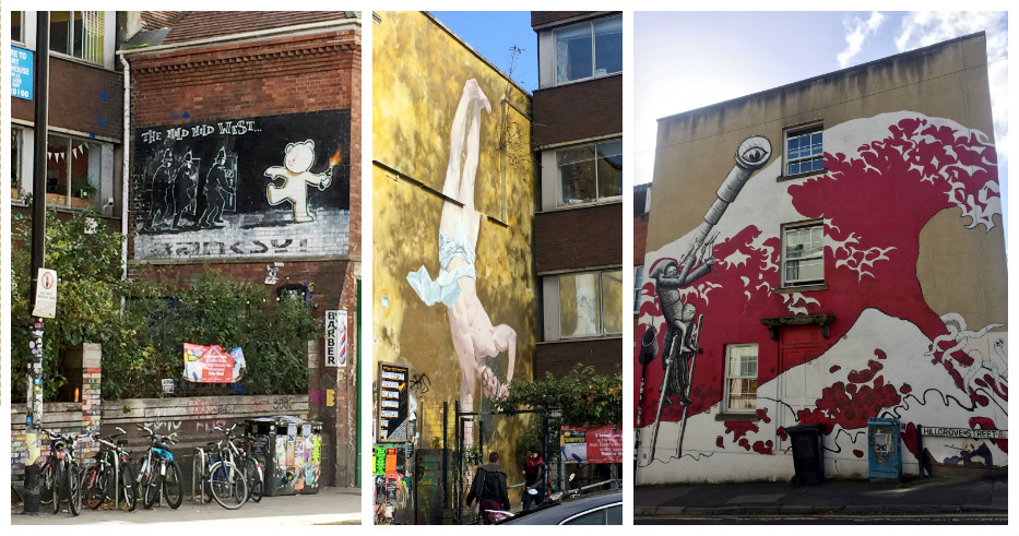 "Left: ""Mild mild west"" - another Banksy work. Center: Classic, yet modern. Right: Whimsical wall"