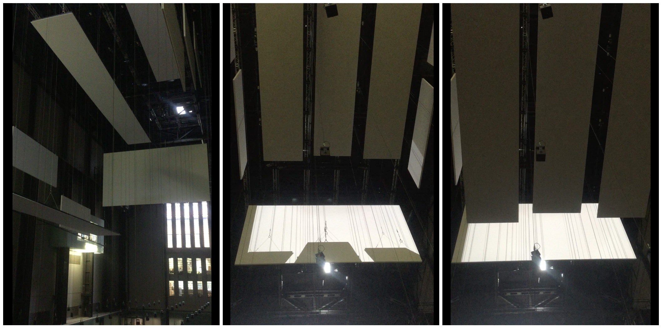 Left: View from the second floor. Center and Right: View from the ground floor - the three screens were parallel to the ground and dropping until they were just about 7 feet overhead.