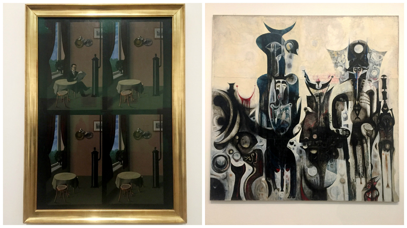 "Left: ""Man with a Newspaper"" by René Magritte. ""These four simply painted scenes, which seem to be indistinguishable apart from the disappearance of the man of the title. They were based on an illustration in a popular health manual. There are slight changes of perspective between the four panels, which add to the disquieting effect, and may relate to the displacement of images in early 3-D viewing devices. This subtle undermining of the everyday was characteristic of Magritte and his Belgian Surrealist colleagues, who preferred quiet subversion to overt public action."" Right: ""Reborn Sounds of Childhood Dreams I"" by Ibrahim El-Salahi. ""The square format, sober palette, deliberate drips and intentional wrinkling of the paint surface are all characteristic of El-Salahi's work from this period. While the heads of the figures recall African masks, the artist has also suggested that the 'elongated, black-eyed, glittering facial shapes might represent the veils our mothers and grandmothers used to wear in public, or the faces of the drummers and tambourine players I had seen circling wildly during funeral ceremonies and chants in praise of Allah'"""