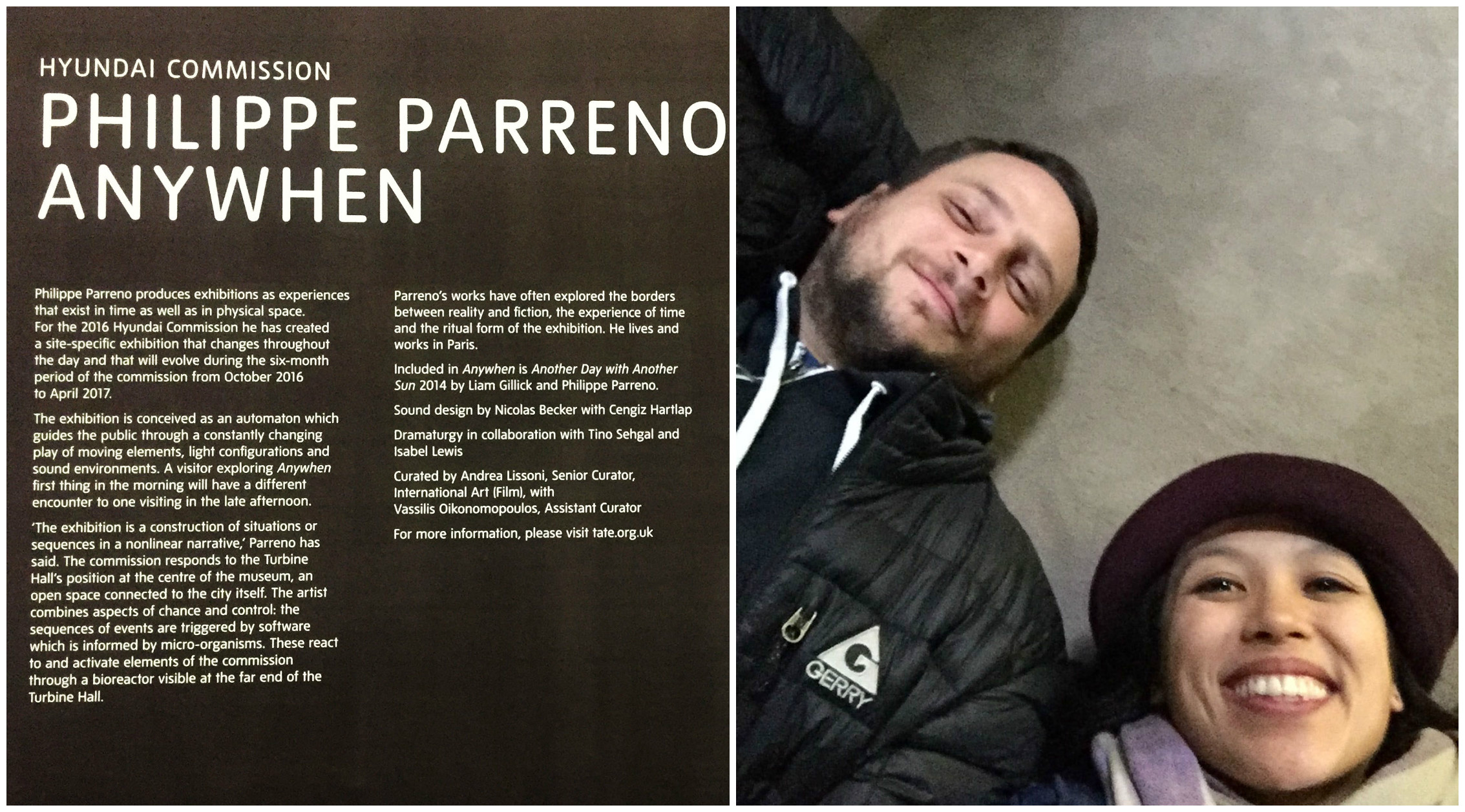 "Left: Description of ""Anywhen"" by Phillip Parreno. Right: Us, laying down to view the screens on the ceiling."