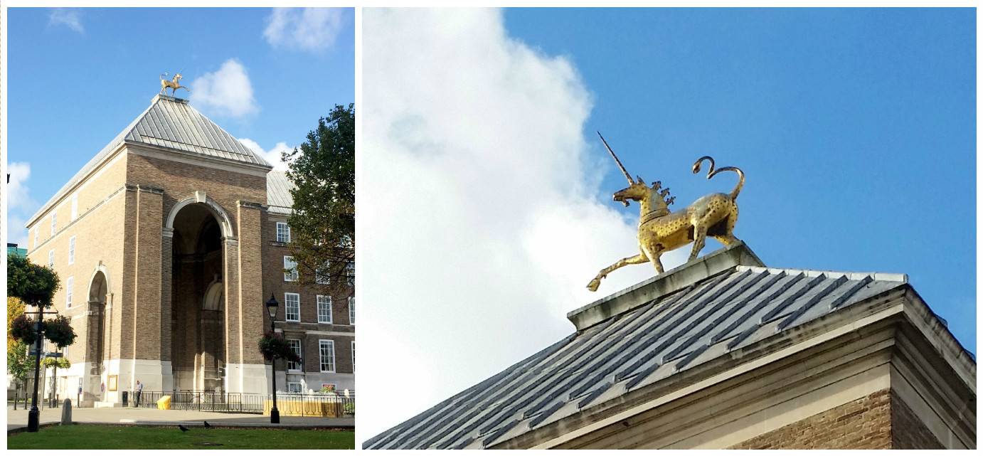 Bristol's city hall has unicorn toppers. Literally.