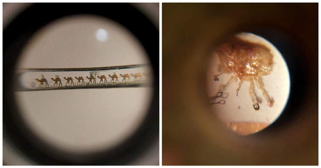 Left: An even more detailed Camel parade in the eye of a needle! Right: A flea with a golden horseshoe, purse, scissors, and a key!