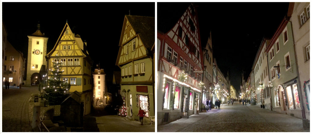 Left: The most famous corner in Rothenburg. Right: Nighttime streets.